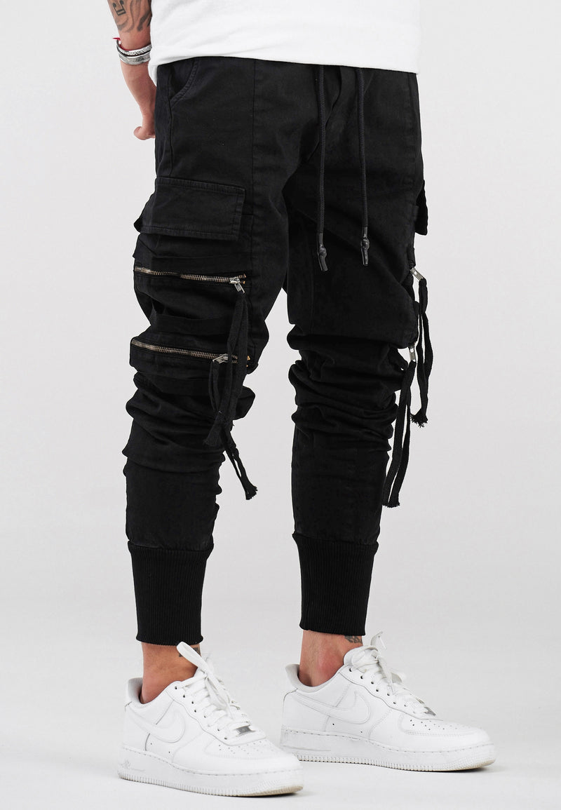 Skinny Cargo Pants Black B4832