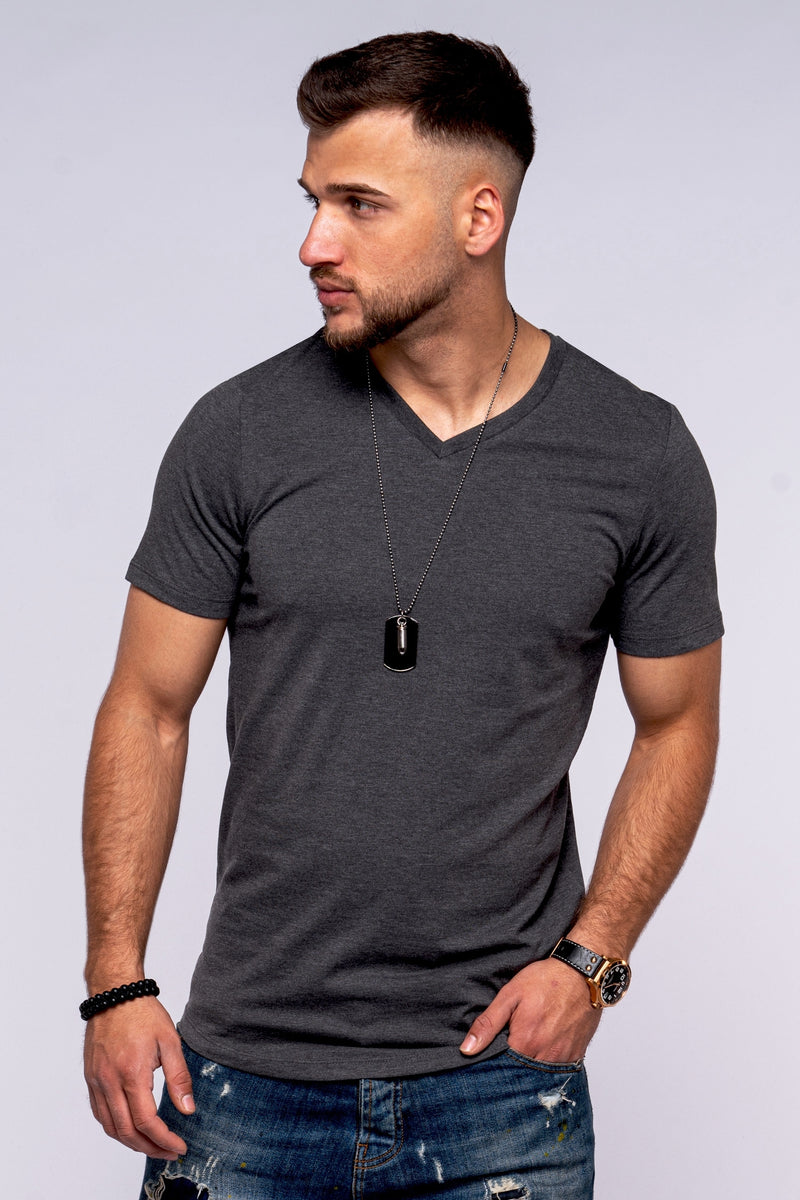 Jack & Jones Longline V-Neck Tee INFINITY Dark Gray