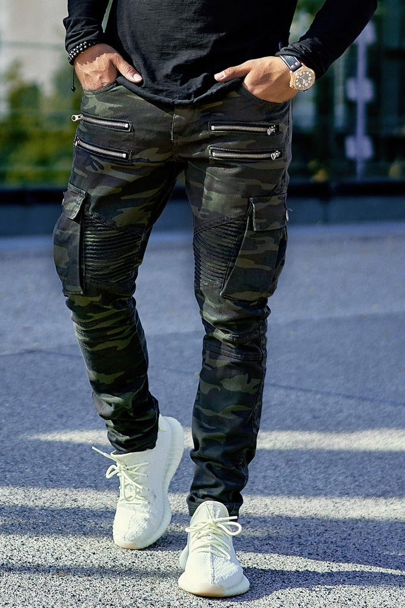 Men's Biker Jeans with Zippers Camouflage 3196
