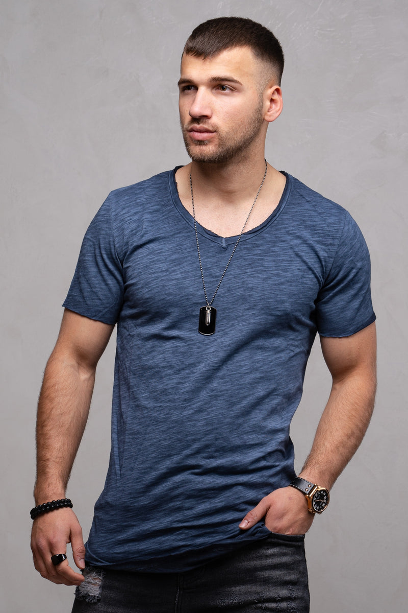 Oversize Tee V-Neck Navy Wash 7102