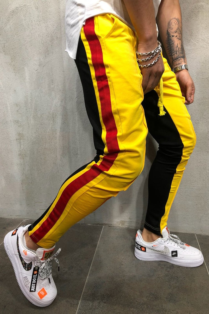 Men's Track Pants Sweatpants in Contrasting Colors Yellow-Black 5061