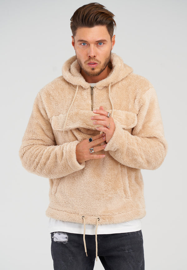 Teddy Fleece 1/4 Zip Hoodie MT-7453 Beige