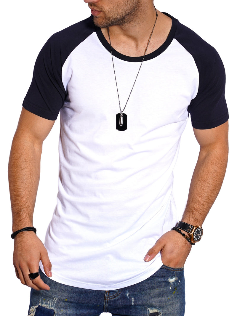 Men's Oversize T-Shirt Muscle Tee Raglan White/Black MT-7140