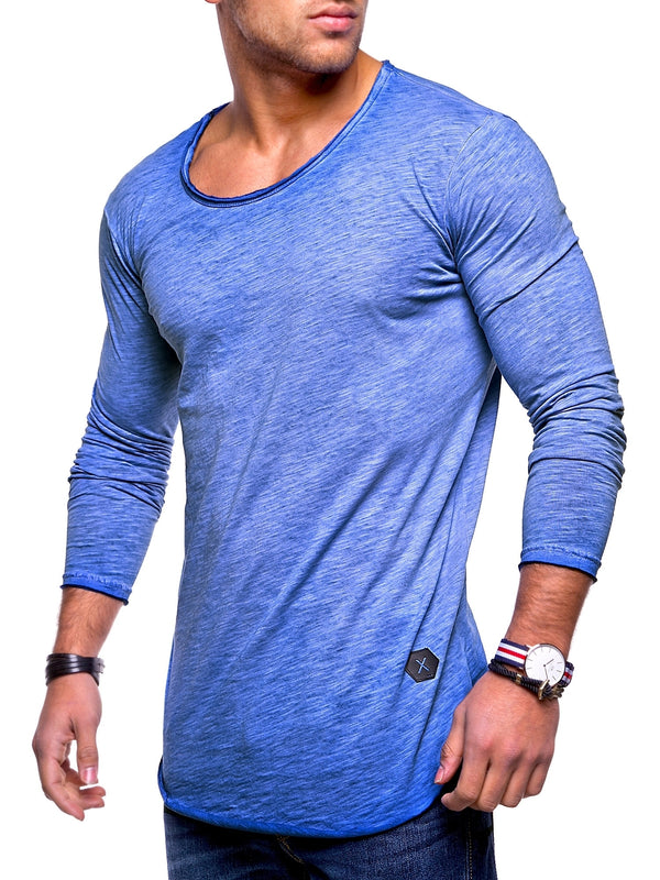 Men's Oversize Longsleeves Muscle Tee Crewneck Blue 7315