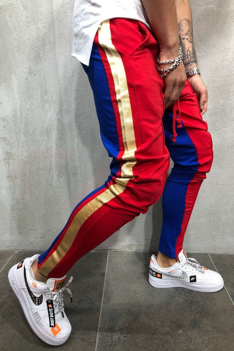 Men's Track Pants Sweatpants in Contrasting Colors Red-Blue 5061