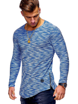 Men's Oval Longsleeve T-Shirt Sweater Muscle Tee Blue 7316