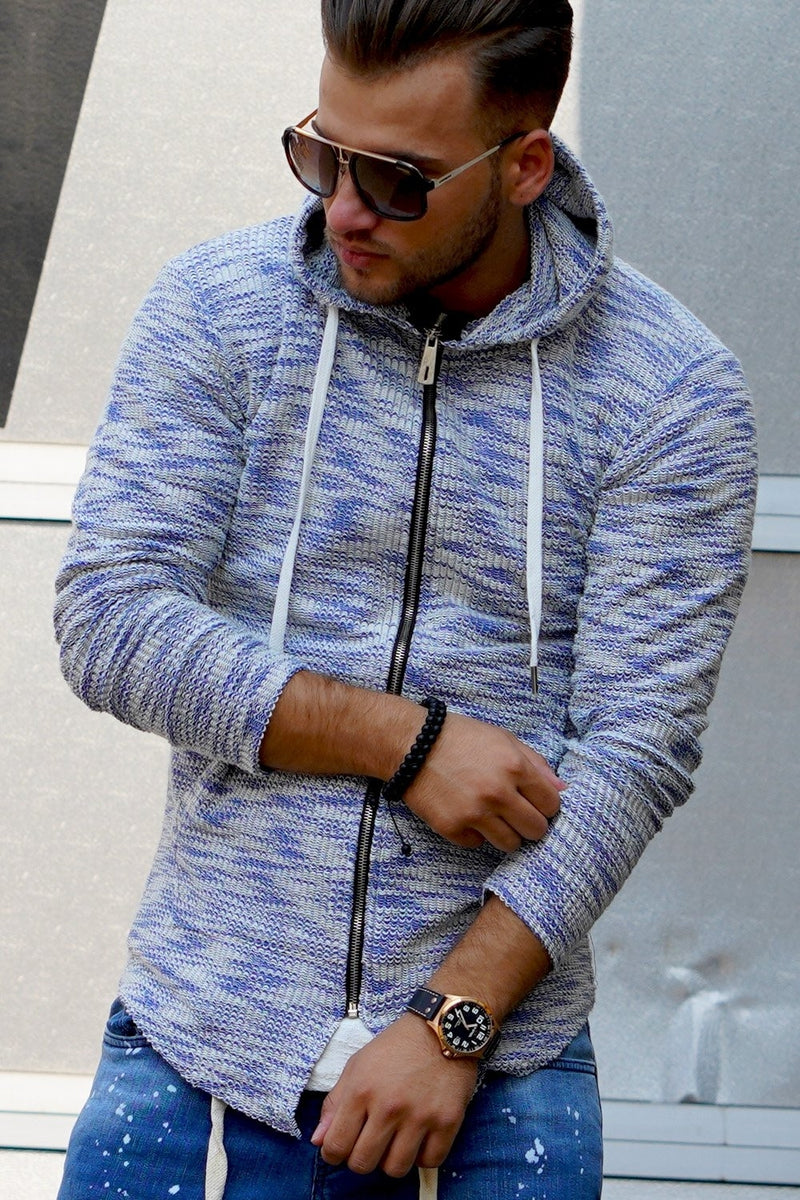 Men's Oversize Knit Cardigan with Hoodie Blue 7531