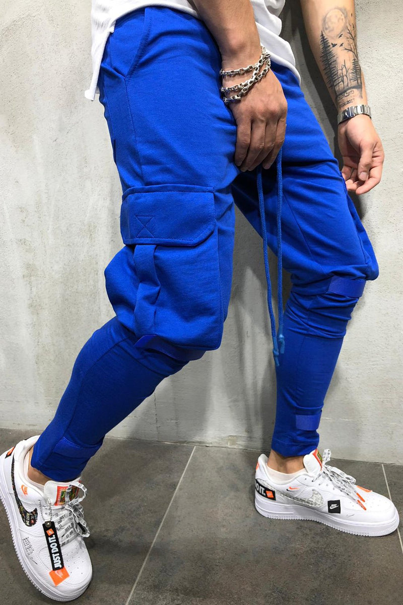 Men's Cargo Track Pants Sweatpants Blue 6048