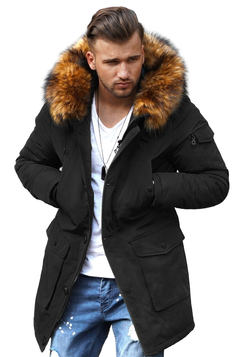 Men's Winter Parka Jacket Black 7500