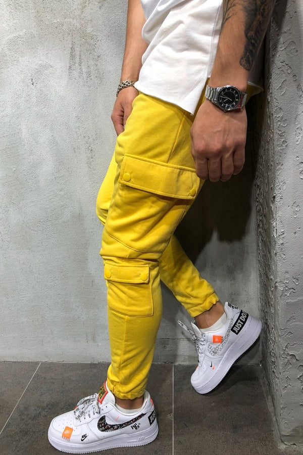 Men's Cargo Track Pants Sweatpants Yellow 5062