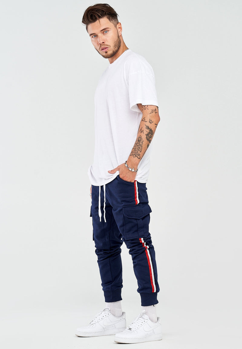 Men's Cargo Track Pants Sweatpants Navy 1800