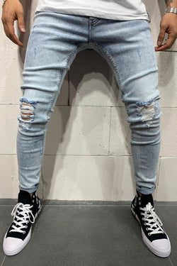Men's Denim Jeans Destroyed Blue B4781