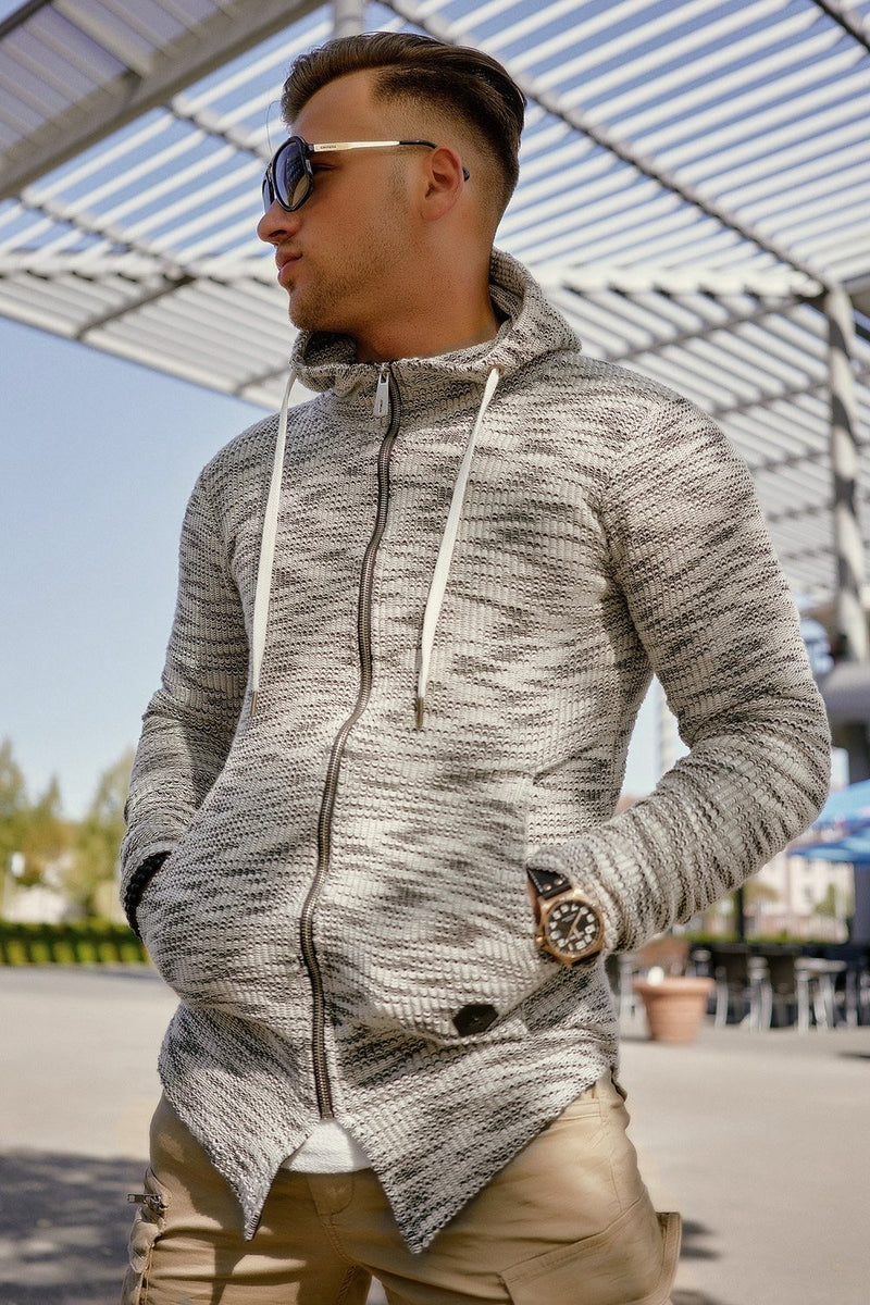 Men's Oversize Knit Cardigan with Hoodie Grey 7531