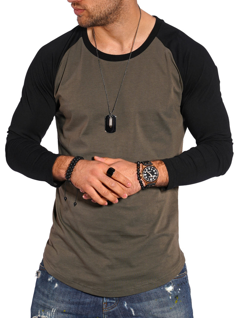 Men's Longsleeve T-Shirt Muscle Tee Raglan Green/Black MT-7325