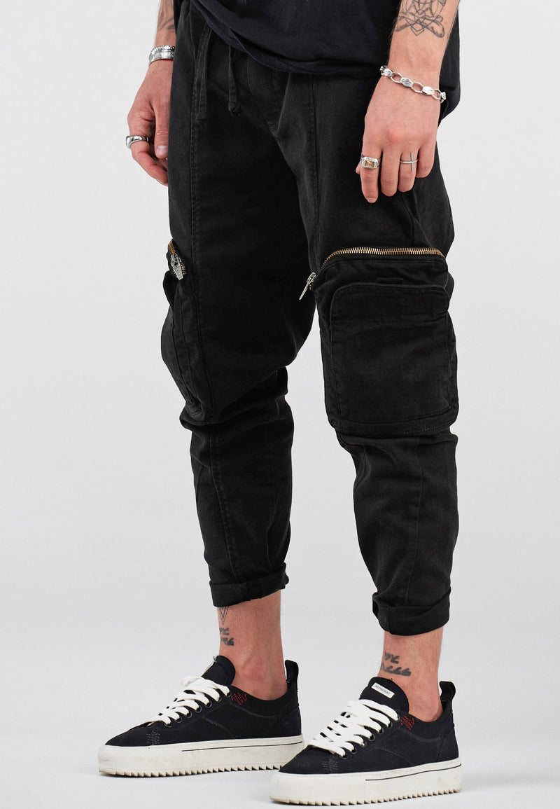 Denim Cargo Jeans black B4758