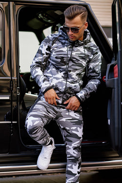 Men's Tracksuit Sweatpants + Sweatshirt Camo-Grey 7039