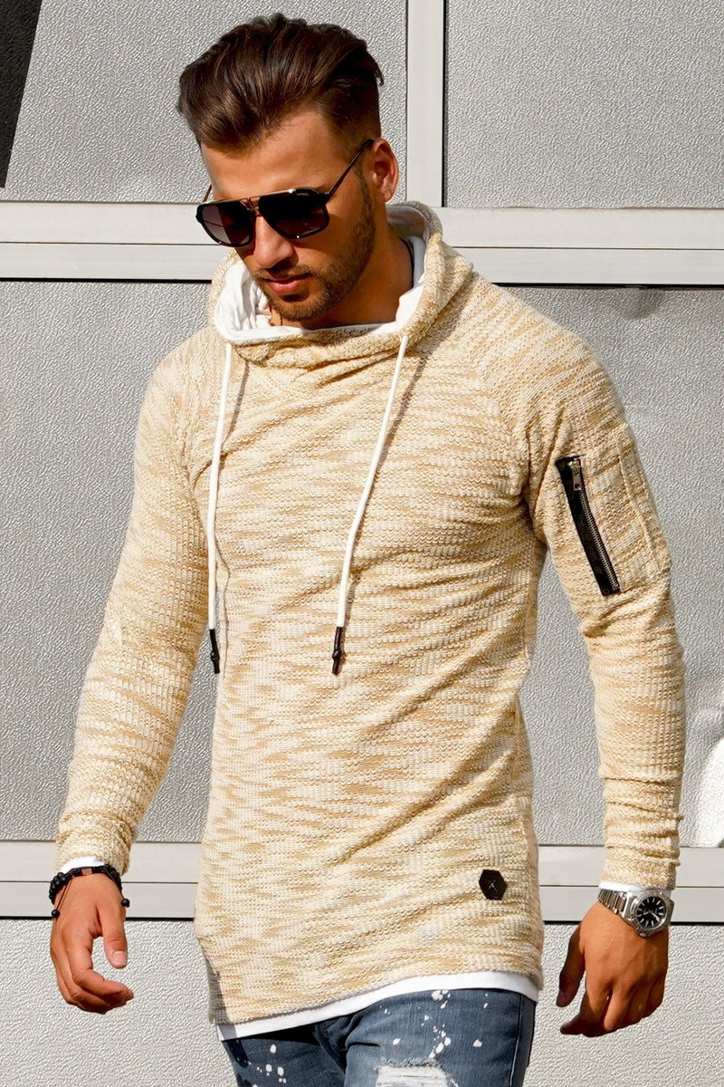 Men's Knit Sweater Hoodie Beige 7432