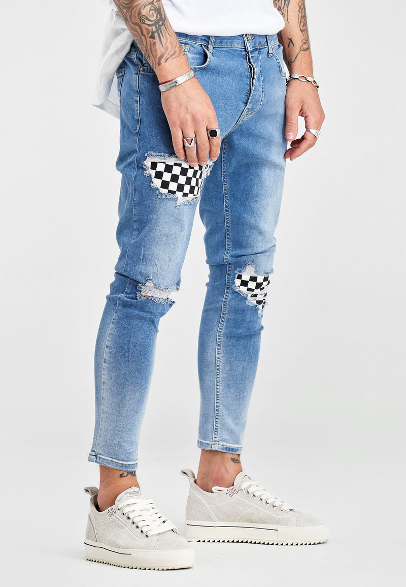 Stripe Denim Jeans Blue D3001