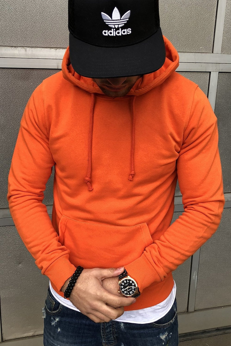 Men's Hoodie Sweatshirt Orange 8023