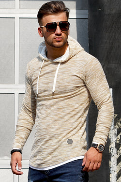 Men's Knit Sweater Hoodie Beige 7424