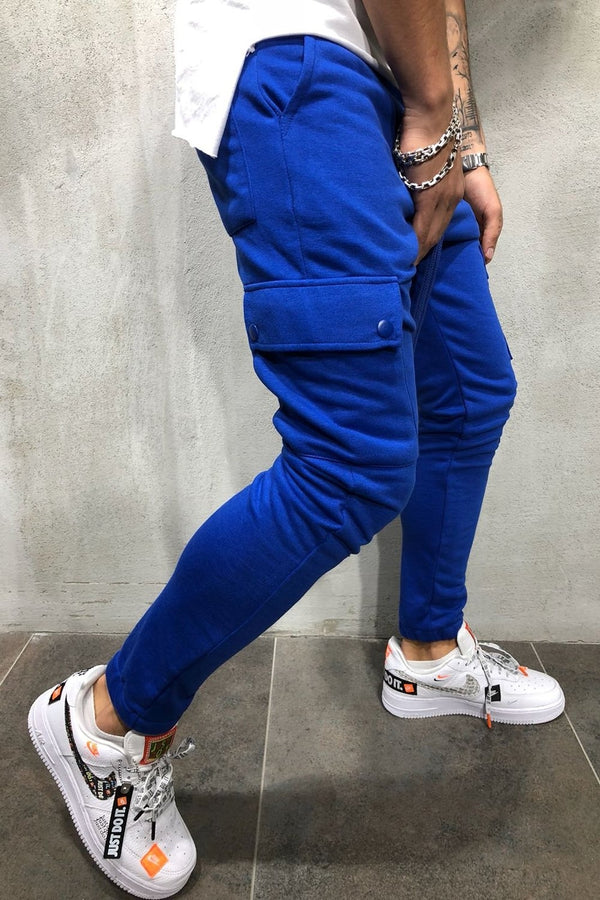 Men's Cargo Track Pants Sweatpants Blue 5062