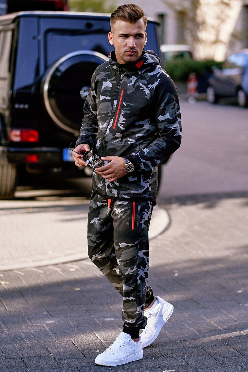 Men's Tracksuit Sweatpants + Sweatshirt Camo-Black 5037