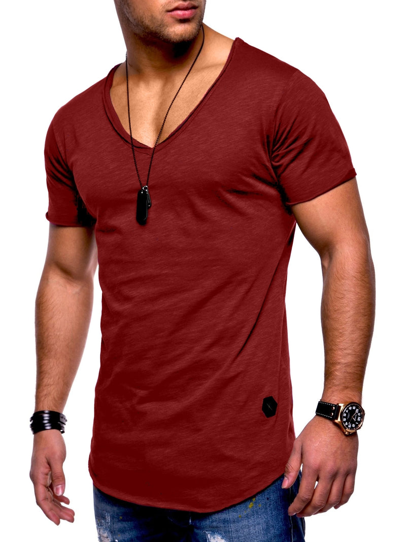 Oversize Tee V-Neck Bordeaux 7102
