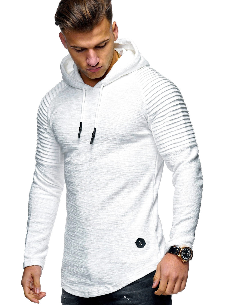 Men's Sweater Jumper Biker Hoodie White 7421