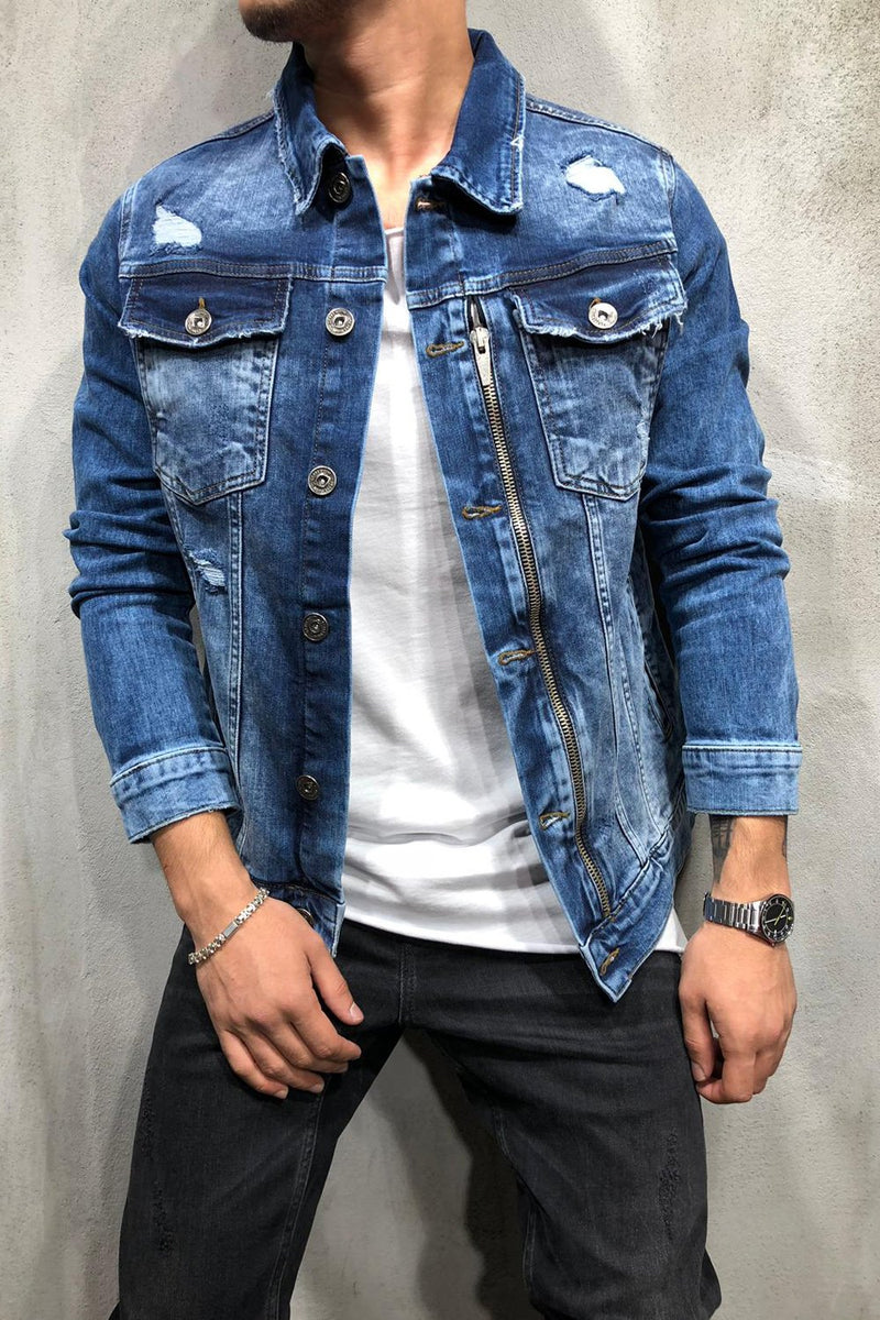 Men's Denim Jacket Destroyed Zipper Blue 4095
