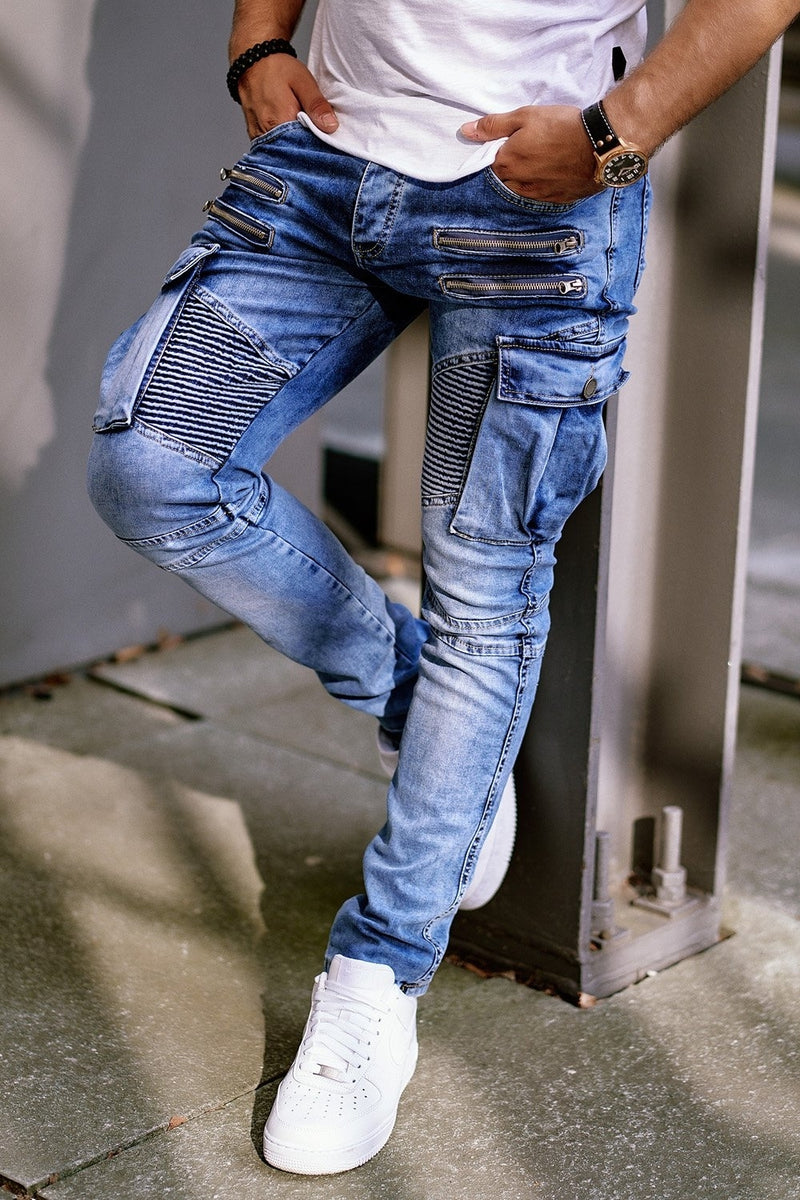 Men's Biker Jeans with Zippers Lightblue 3196