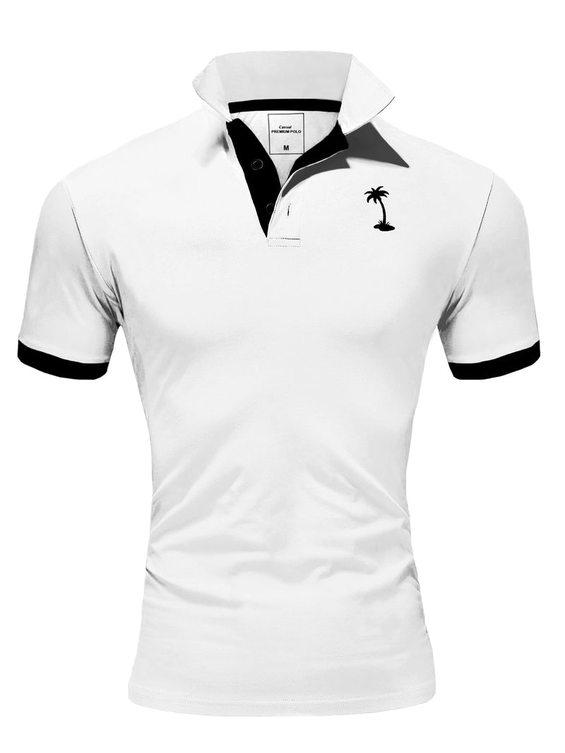 Men's Polo T-Shirt White/Black 337