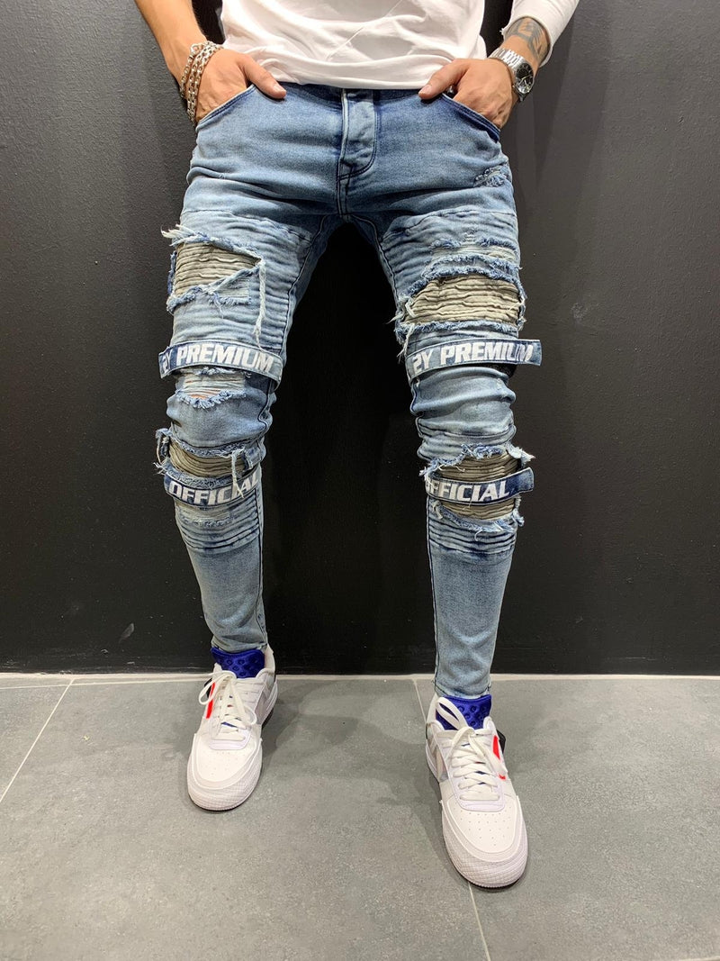 Men's Denim Jeans Destroyed with Patches Blue B4712