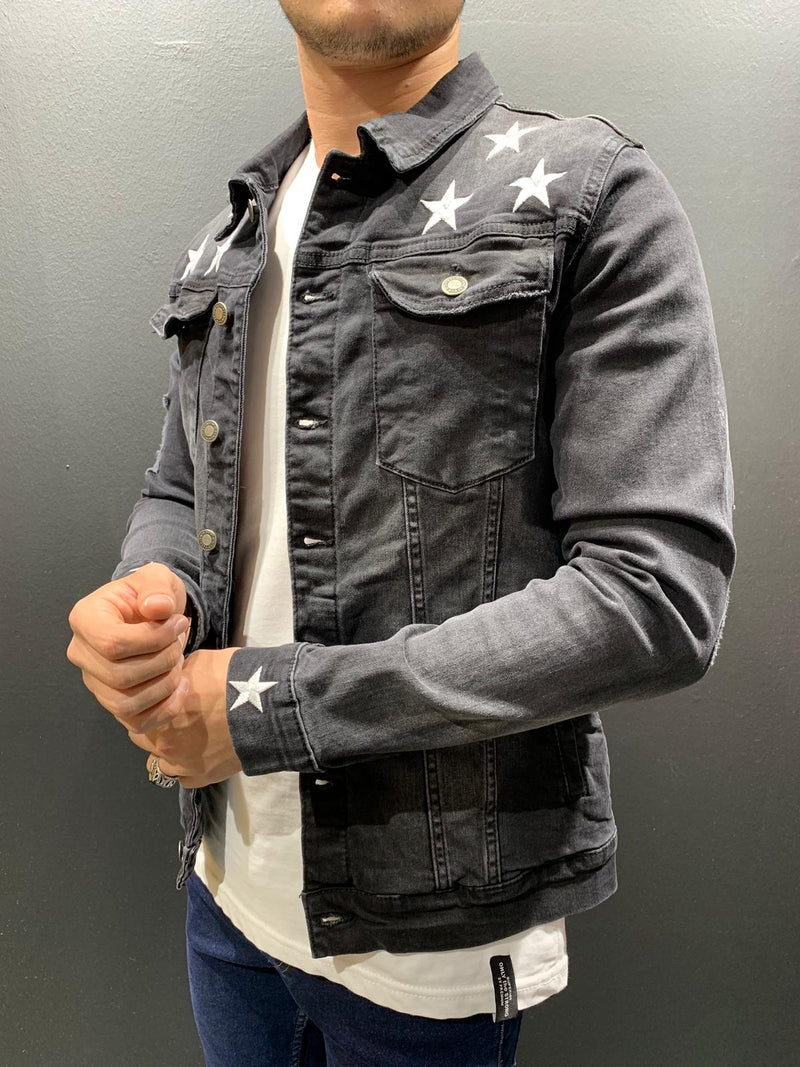 Men's Denim Jacket Destroyed Black B4157