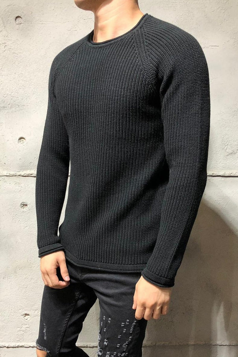 Men's Knit Sweater Pullover Black 7019