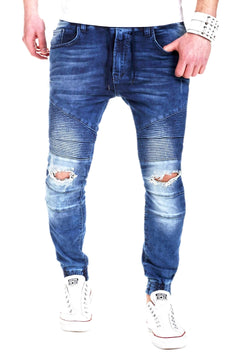 Men's Denim Biker Jeans Destroyed Blue 2082