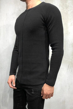 Men's Knit Sweater Pullover Black 7006