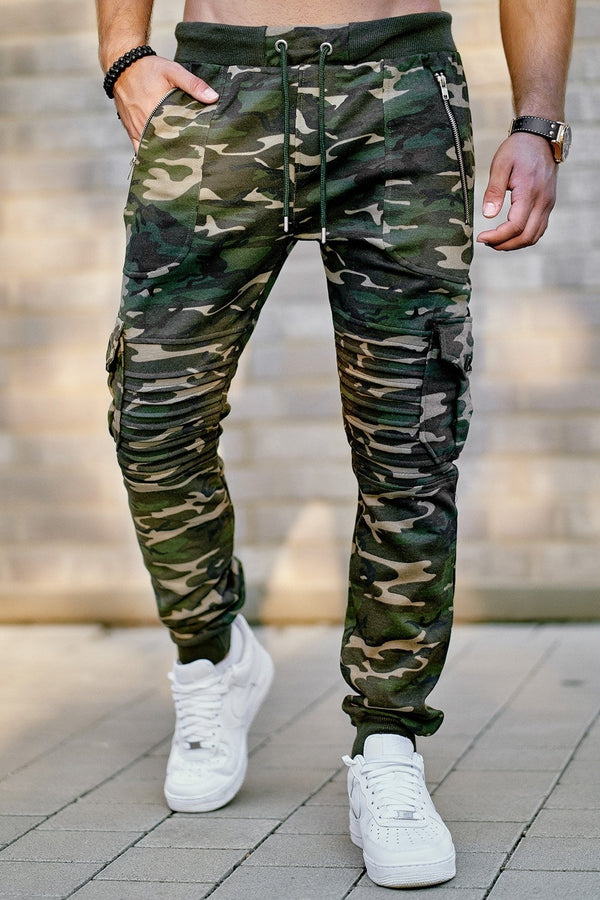 Men's Biker Cargo Track Pants Sweatpants Camouflage 2134