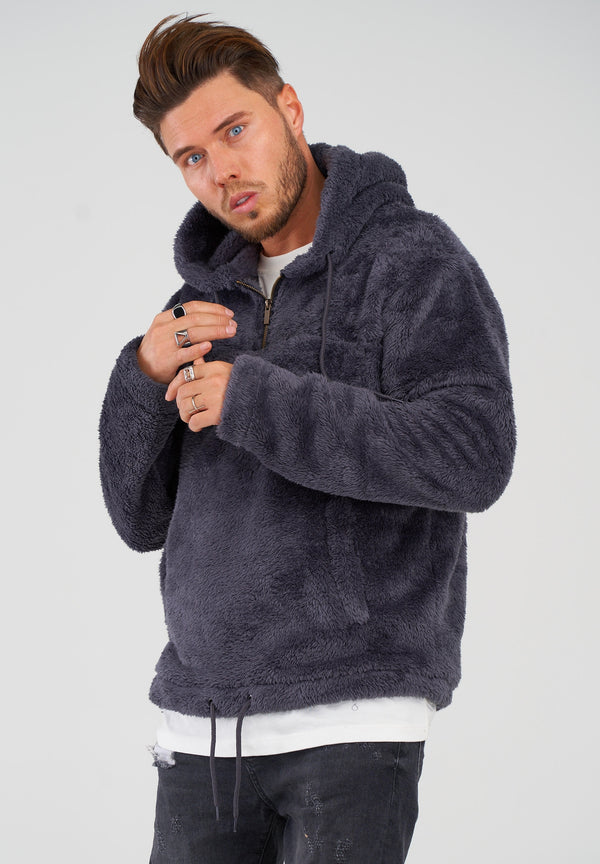 Teddy Fleece 1/4 Zip Hoodie MT-7453 Grey