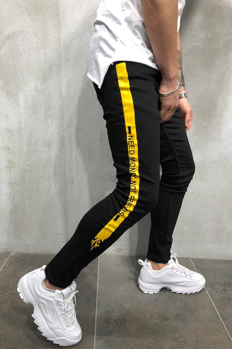 Men's Jeans with Stripes NMNF Black/Yellow 4050