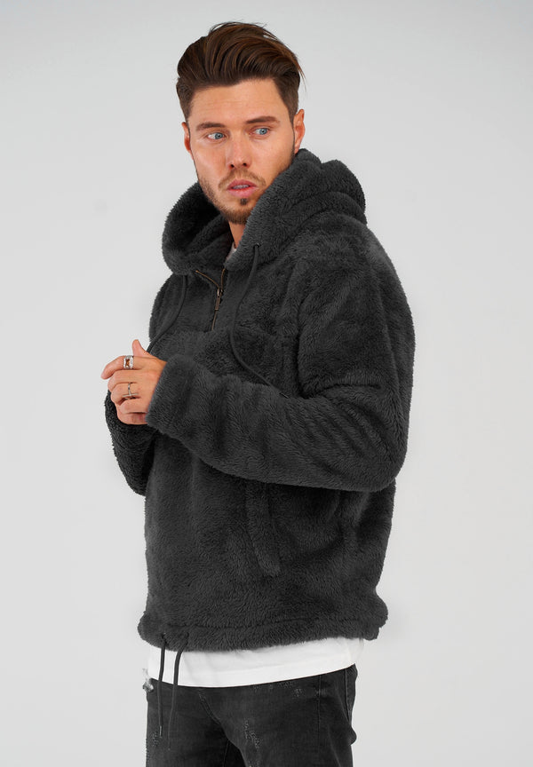 Teddy Fleece 1/4 Zip Hoodie MT-7453 black