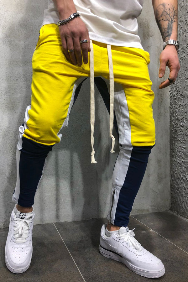 Men's Track Pants Sweatpants in Contrasting Colors Yellow 5049