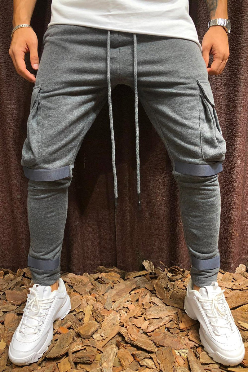 Men's Cargo Track Pants Sweatpants Darkgrey 6048