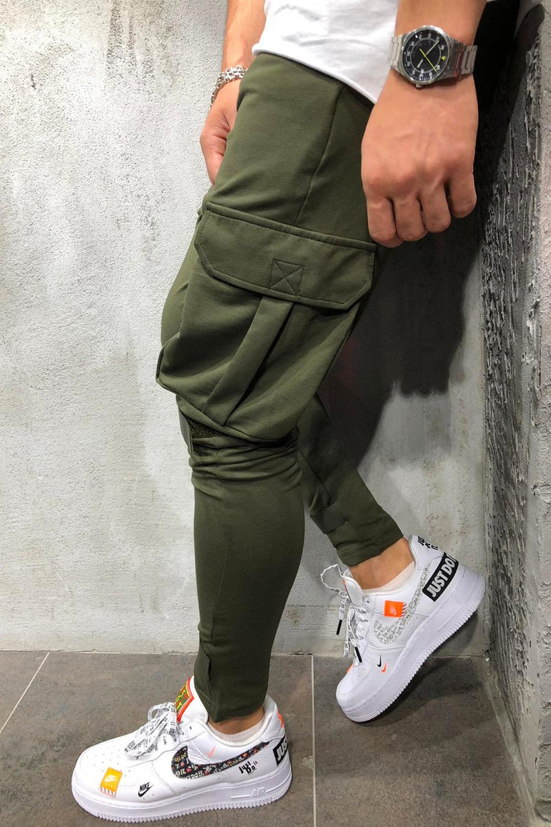 Men's Cargo Track Pants Sweatpants Green/Military 6048