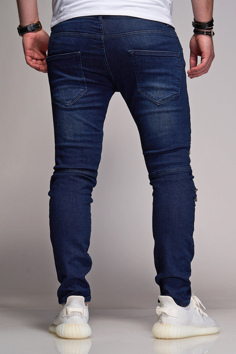 Men's Denim Jeans Destroyed with Zippers Darkblue B2869