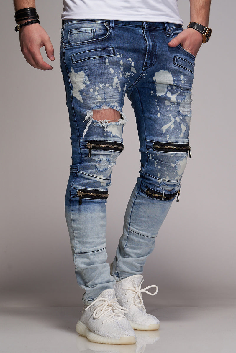 Men's Denim Jeans Destroyed with Zippers Blue B3039