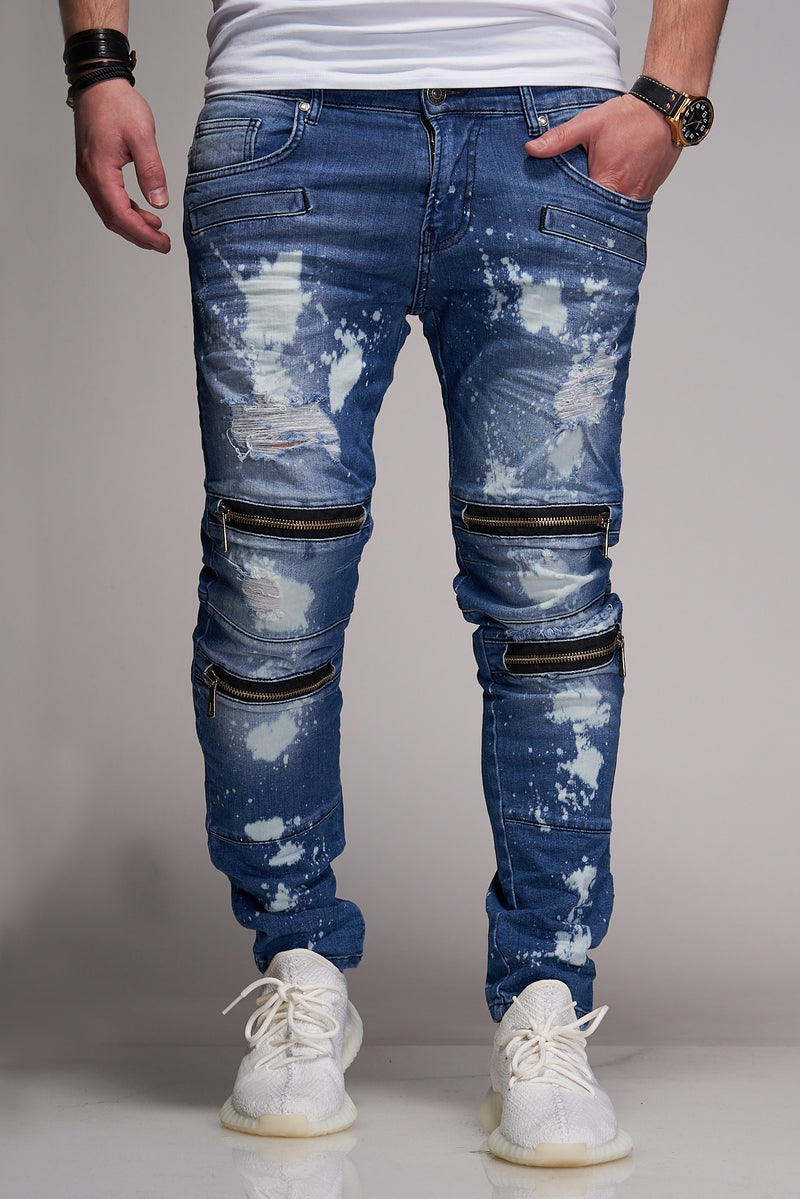 Men's Denim Jeans Destroyed with Zippers Blue B3037