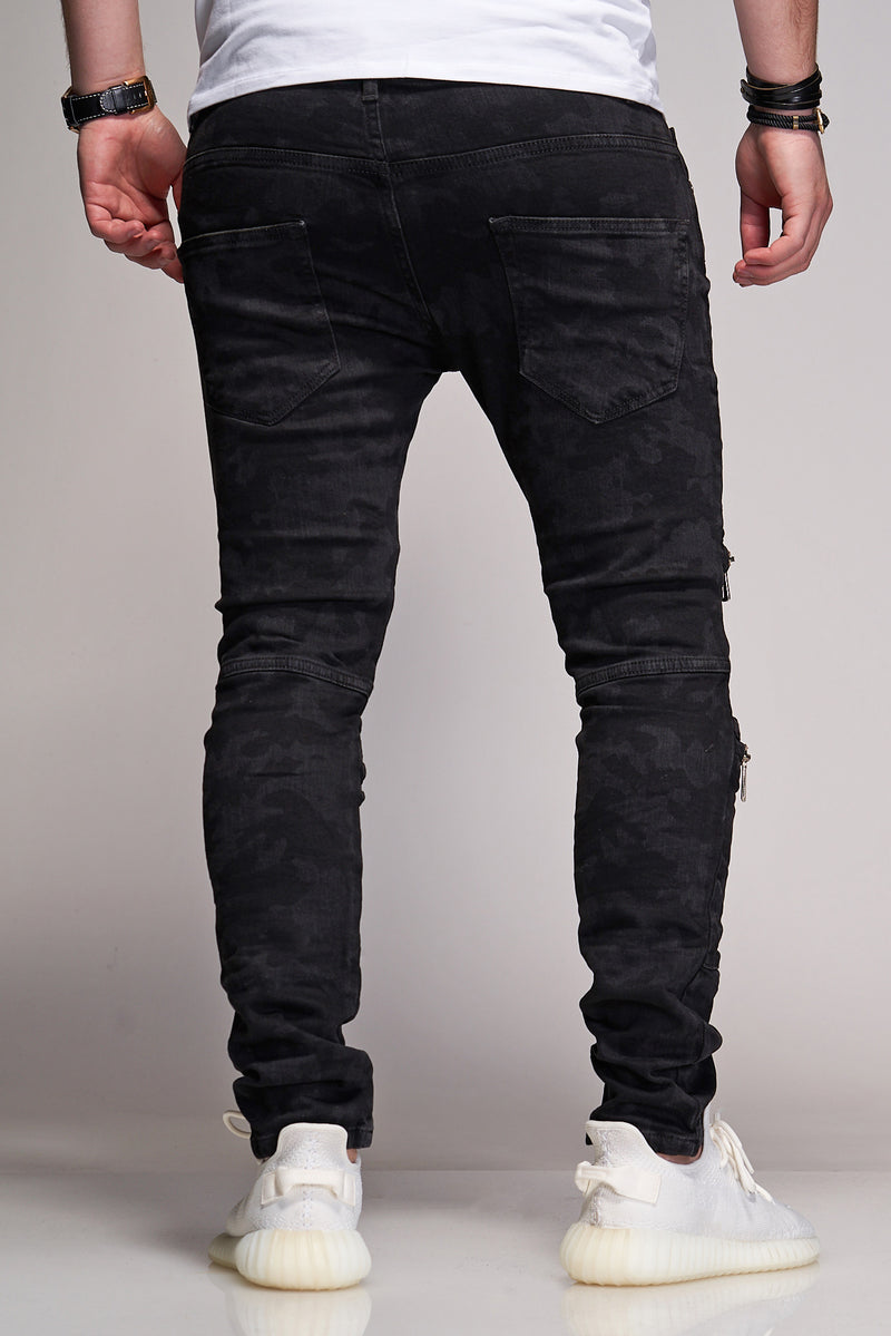 Men's Denim Jeans Destroyed with Zippers Black B3042