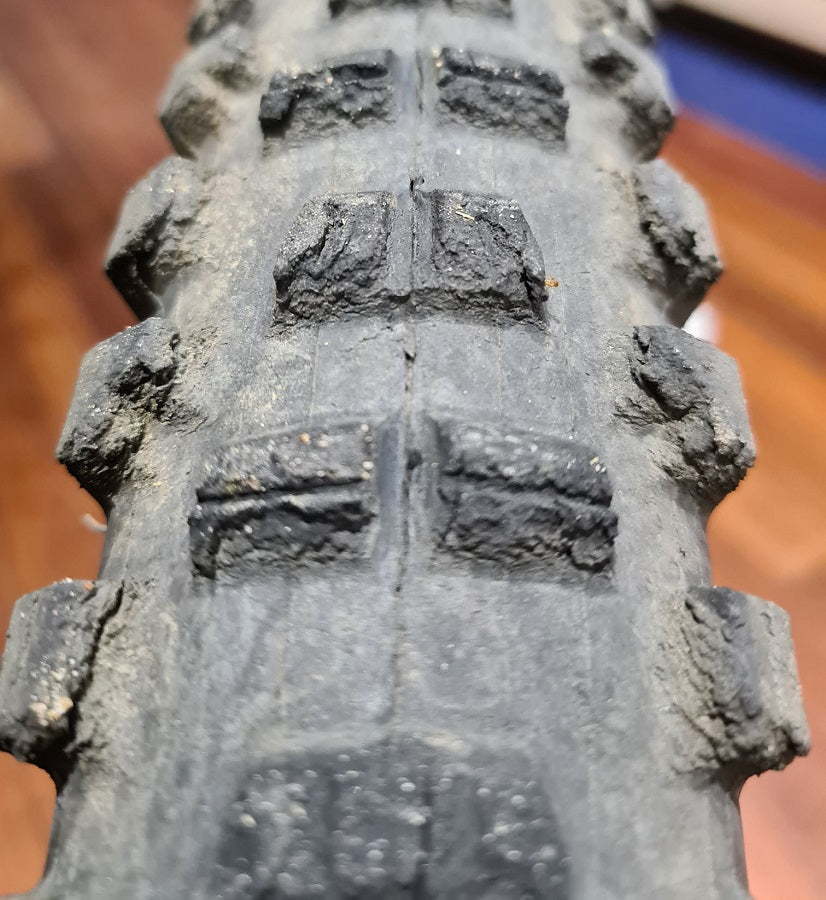 Worn mountain bike tyre replacement