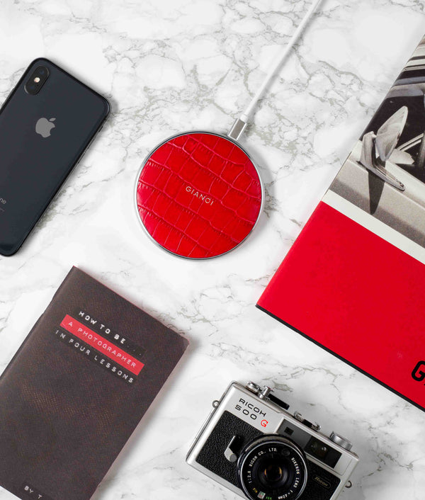 Wireless Charger Embossed Croc Leather