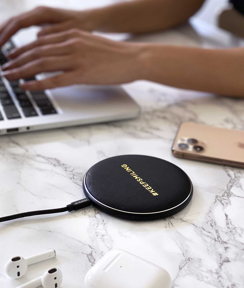 Wireless Charger Hand Embossed Leather